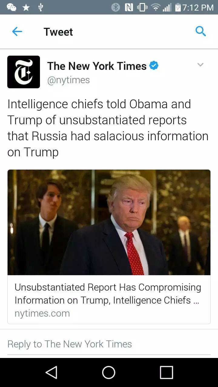 重磅! 图解美国头条新闻:美国情报部门称俄罗斯或掌握川普丑闻黑材料