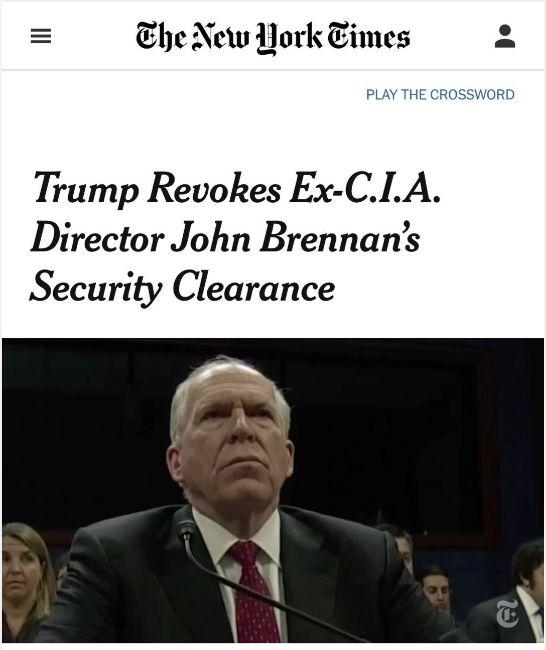 我不会屈服——被撤销机密许可的前CIA局长Brennan这样回应 | 图姐