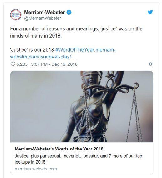 """天灾还是人祸?韦氏词典美国2018年度词汇""""正义""""的背后"""