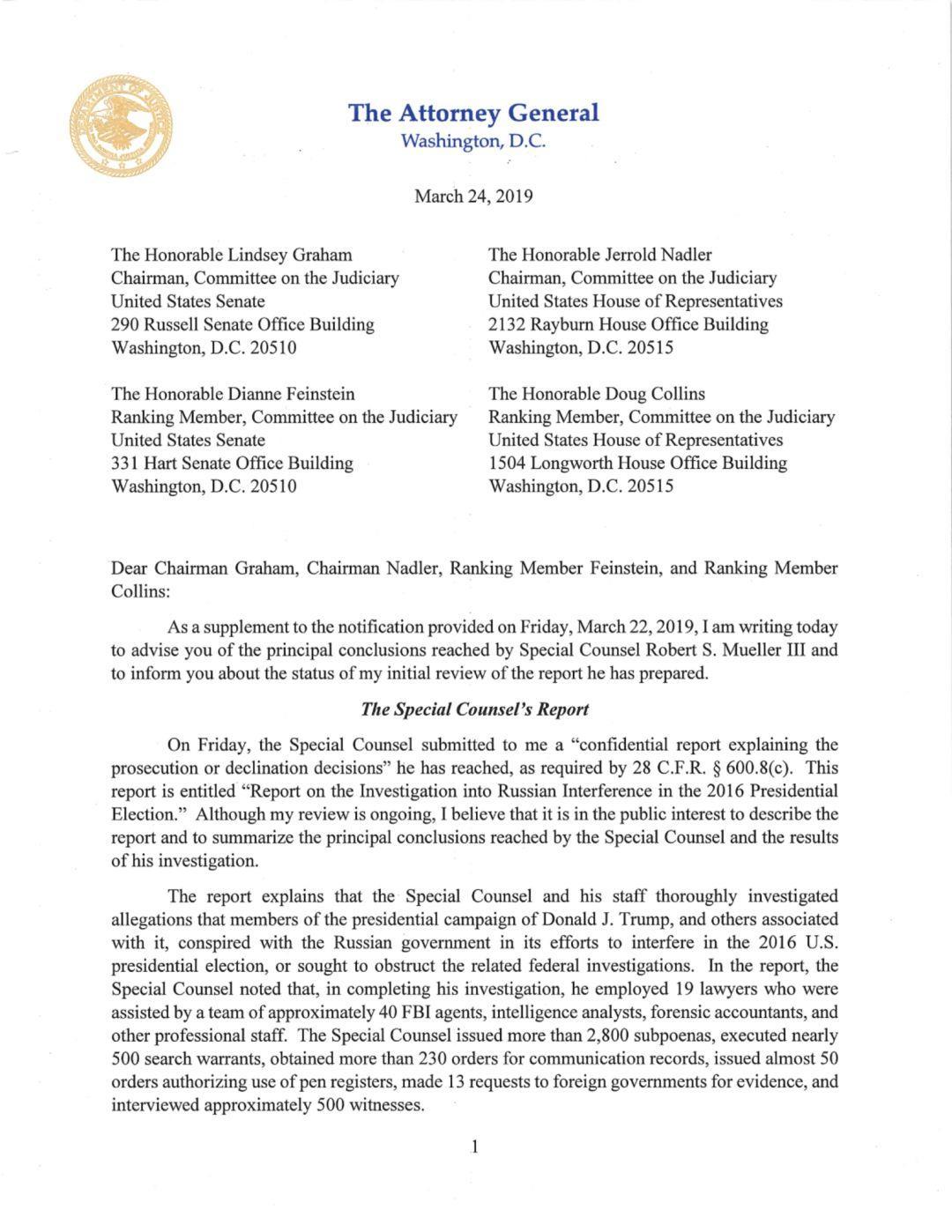 穆勒报告摘要公布,全美聚焦特朗普有没有通俄和妨碍司法   图姐