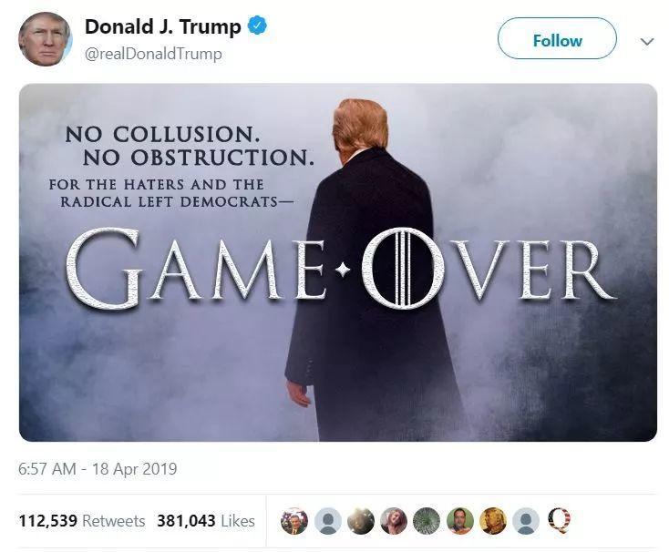 """穆勒报告展示疯狂总统和白宫众生相,""""权力的游戏""""的远未结束"""