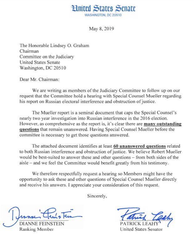 参议院司法委员会民主党人提出穆勒调查相关60个问题(英文版)