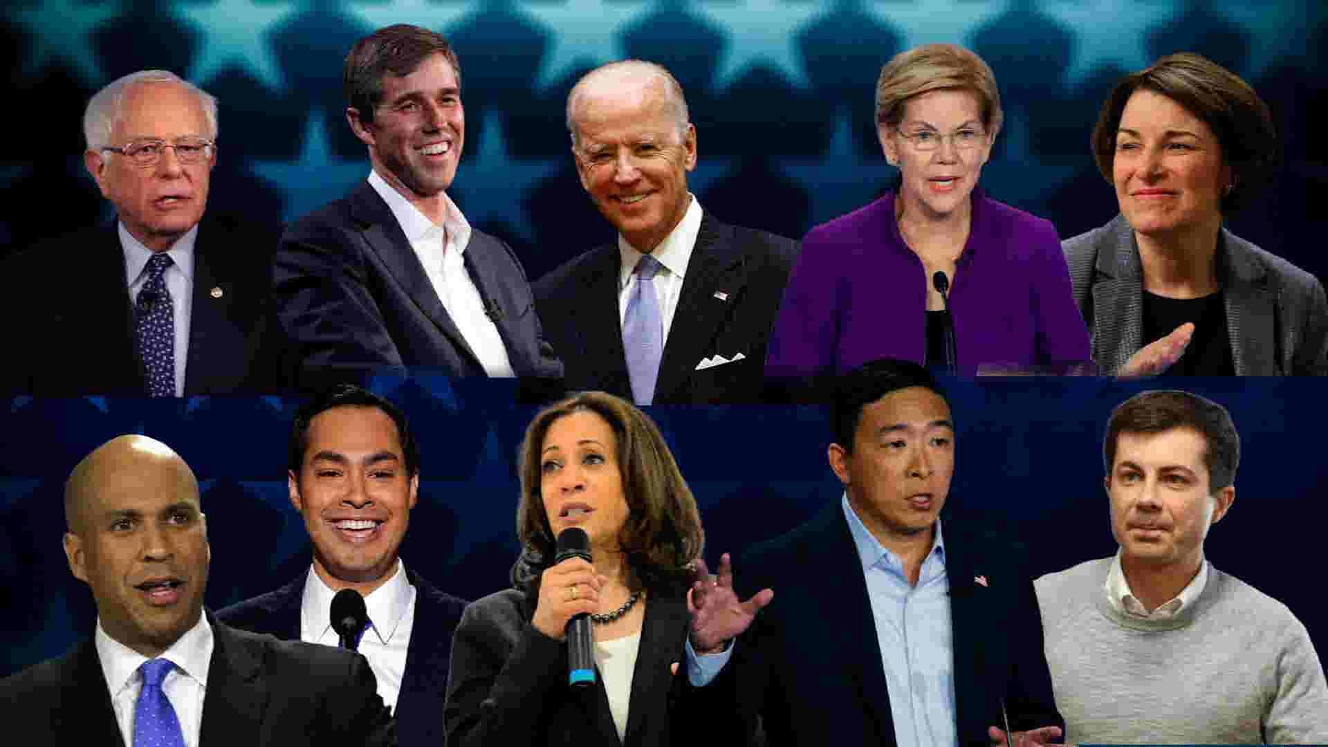 民主党第三场辩论实况——杨安泽和其他9位候选人同台交锋