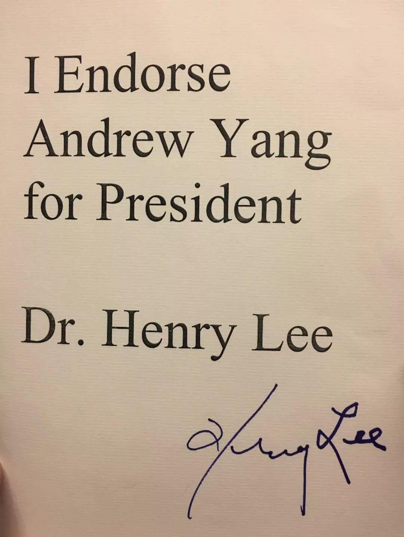 神探李昌钰博士为杨安泽竞选美国总统签名背书